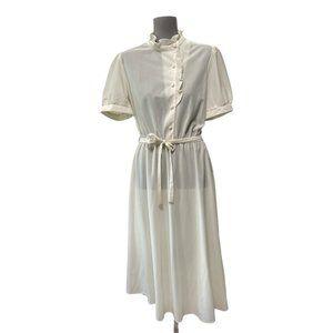 Vintage 70s Oops California Mini Sheer Dress Cream